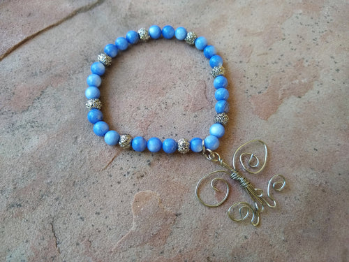 CD0124  Wire Wrapped Butterfly with Blue Agate Beaded Bracelet/Anklet
