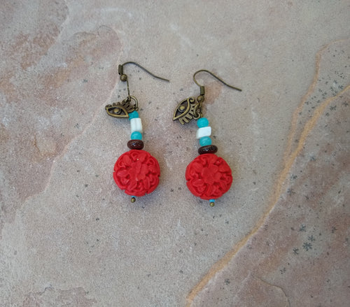 CD0127 Faux Cinnibar Red Flower Beaded Earrings