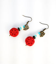 Load image into Gallery viewer, CD0127 Faux Cinnibar Red Flower Beaded Earrings