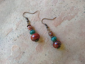 CD0135 Red Jasper & Green Aventurine Gemstone Earrings