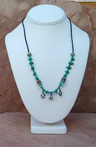 CD0136 Vintage Magnesite Turquoise Gemchip Beaded Necklace