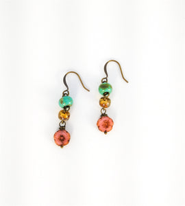 CD0138 Czech Glass Flowered Earrings