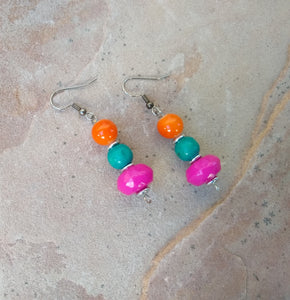 CD0142 Handmade Faceted Czech Glass and Agate Earrings