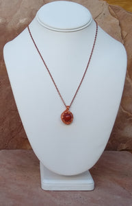 CD0167 Artisan Hand Crafted Wire Weaved Red Jasper Gemstone Pendant And Necklace