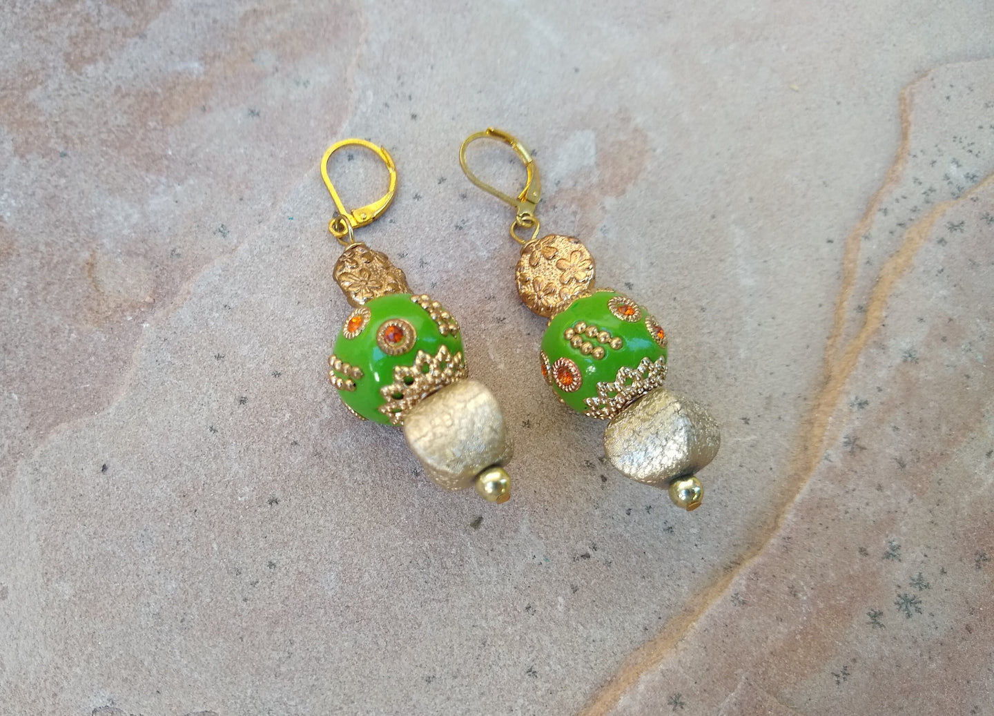 CD0186 Handmade Gold Metal Bohemian Earrings