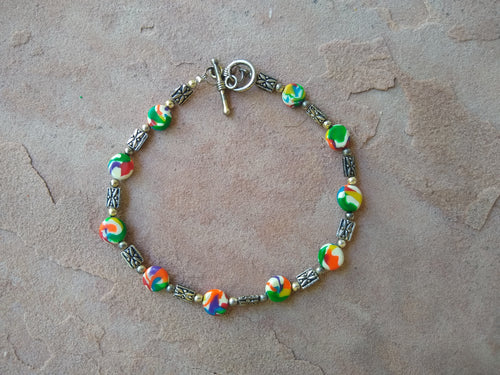 CD0197   Hand Crafted Polymer Clay Beaded Anklet