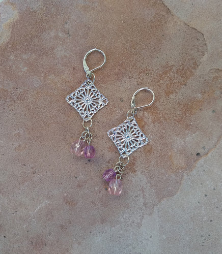 CD0200  Handmade Silver Filigree Earrings finished with Lavender Czech Glass Beads