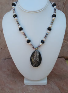 "CD0209   Hand Crafted ""LOVE"" Orthoceras Fossil With MOP And Onyx Beaded Necklace"