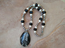 "Load image into Gallery viewer, CD0209   Hand Crafted ""LOVE"" Orthoceras Fossil With MOP And Onyx Beaded Necklace"