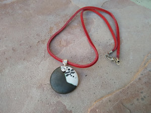 CD0216 Hand Altered Polymer Clay Pendant with a Red Faux Suede Chain