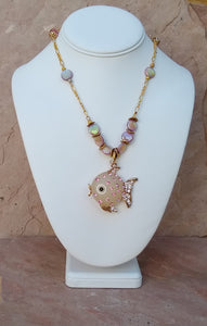 CD0218 Czech Glass and Dyed MOP/Shell Beaded Necklace with Puffer Fish