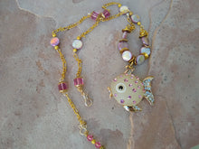 Load image into Gallery viewer, CD0218 Czech Glass and Dyed MOP/Shell Beaded Necklace with Puffer Fish