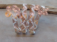 "Load image into Gallery viewer, CD0331  Free Formed Wire Wrapped Copper with German Silver ""Zigzags"" Bangle"