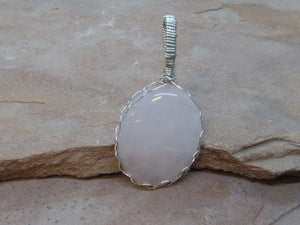 "CD0313  Rose Quartz Oval Cabochon Hand ""Spider"" Wrapped Pendant"