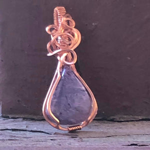 "CD0238  Handmade One of a Kind ""Free-form"" Copper Wire Wrapped Charoite Pendant"