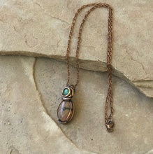 Load image into Gallery viewer, CD0509  Hand Crafted Rhodonite/Jade Wire Wrapped Copper Pendant