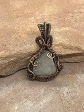 Load image into Gallery viewer, CD0321  Handmade Oxide Copper Wire Wrapped & Weaved White Quartz Pendant