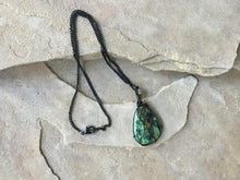 Load image into Gallery viewer, CD0355  Stunning African Turquoise Cabochon Wire Wrapped in Black Enameled Copper