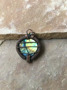 CD0506  Hand Crafted Labradorite Gemstone Wire Wrapped in Copper Pendant