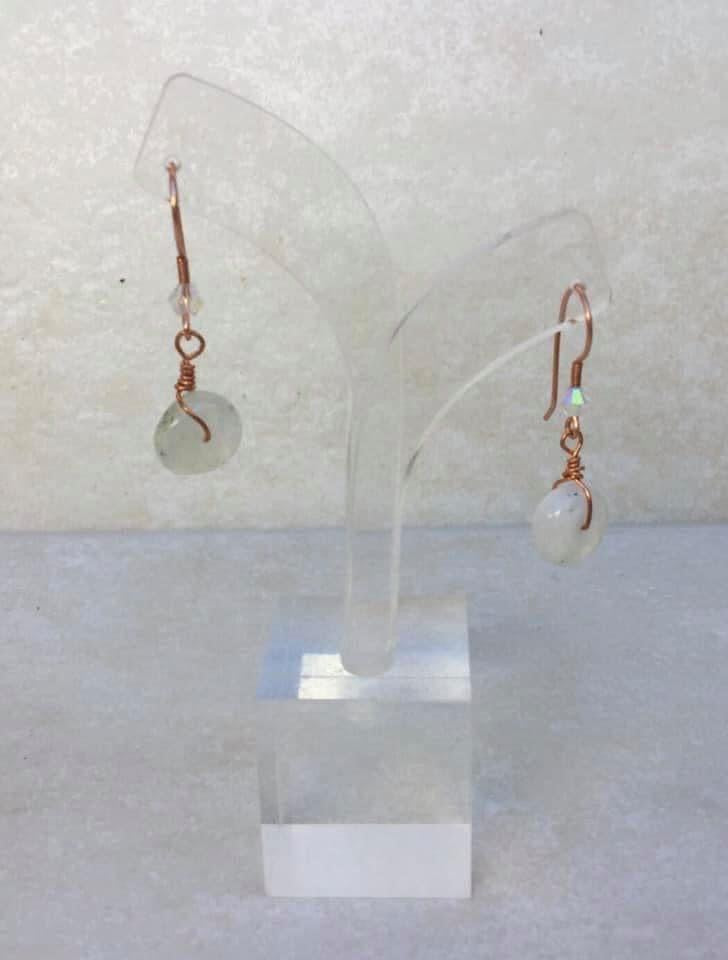 CD0358  Hand Crafted Moonstone Gemstone Wrapped in Raw Copper & Swarovski Crystals Earrings
