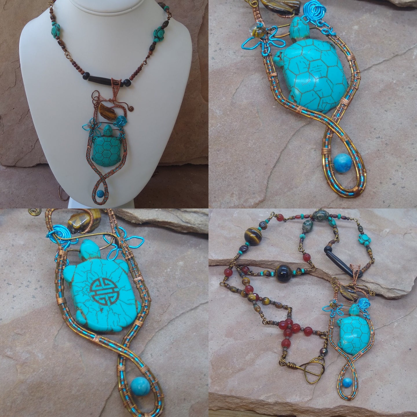 CD0296   Hand Crafted Wire Wrapped DZI Beaded with Tigers Eye Beaded Necklace with Howlite Turtle Pendant