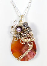 Load image into Gallery viewer, CD0113  Wire-wrapped Druzy Teardrop Agate Necklace
