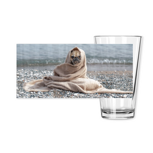 OPULENT DEZIGNZ™ Pug on Rocky Shores Inspirational Pint Glasses