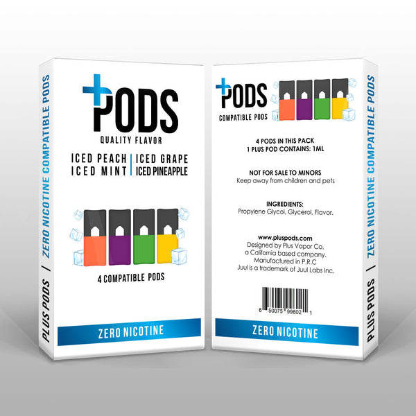 Plus Pods Iced Multipack 4 Pack (Zero Nicotine) *JUUL Compatible* - Vapespot