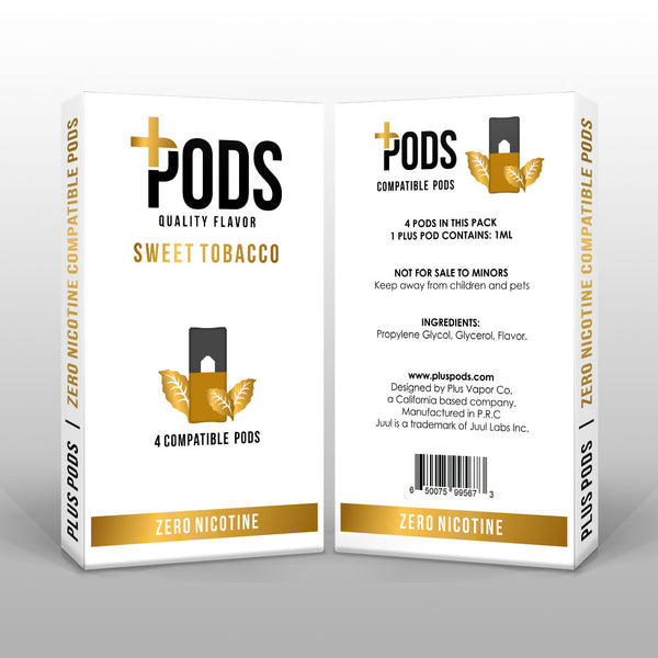 Plus Pods Sweet Tobacco 4 Pack (Zero Nicotine) *JUUL Compatible* - Vapespot