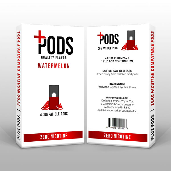 Plus Pods Watermelon 4 Pack (Zero Nicotine) *JUUL Compatible* | Vapespot
