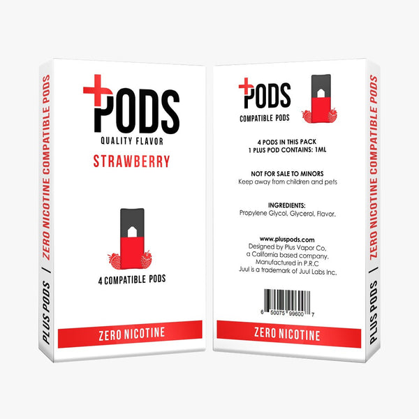 Plus Pods Strawberry 4 Pack (Zero Nicotine) *JUUL Compatible* | Vapespot