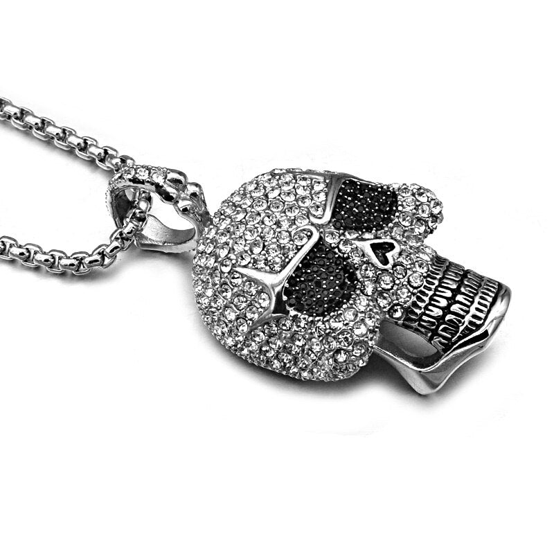 Stainless Steel Crystal Skull Necklace