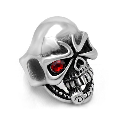 Red Eye Smokin' Skull Ring