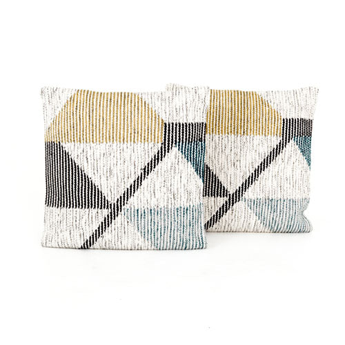 Cream Color Block Pillow, Set Of 2