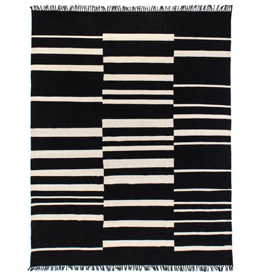 Offset Black Stripe Cotton Rug