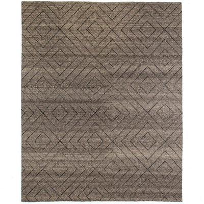 Natural Diamond Patterned Wool Rug, 9x12