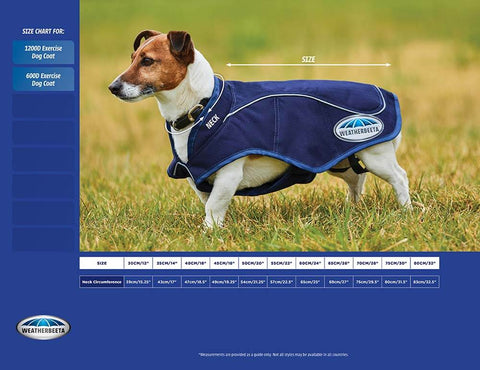 Weatherbeeta Exercise dog coat measurement guide - PetnPony