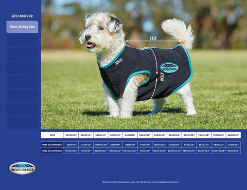 weatherbeeta fleece zip measurement guide for dogs - PetnPony