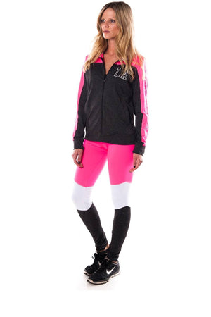 Ladies fashion active sport yoga / zumba 2 pc set zip up jacket & leggings outfit - Debbie Carter Fashion HQ