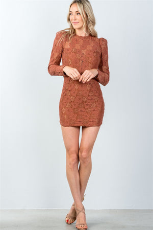 Ladies fashion toffee all floral lace gathered shoulder mini dress - Debbie Carter Fashion HQ