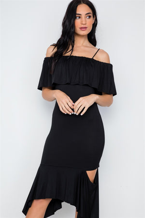 Black Cami Flounce Cut Out Dress - Debbie Carter Fashion HQ