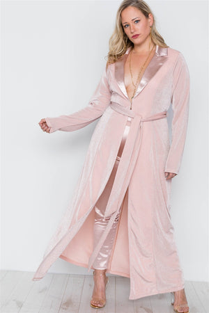 Plus Size Rose Two Piece Cardigan Satin Pants Set - Debbie Carter Fashion HQ