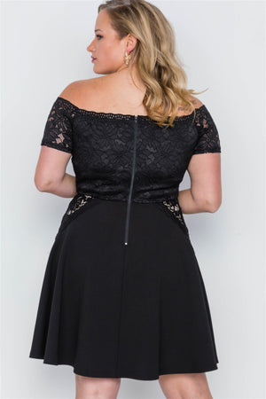 Plus Size Off-the-shoulder Skater Mini Dress - Debbie Carter Fashion HQ