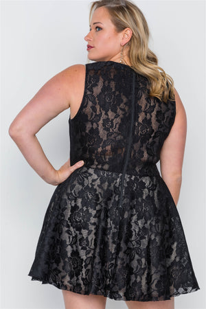 Plus Size Black Floral Lace Mini Skater Dress - Debbie Carter Fashion HQ
