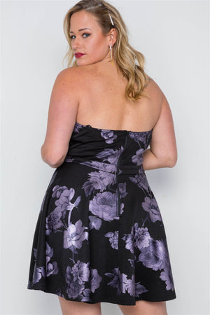 Plus Size Black Fit & Flare Floral Mini Dress - Debbie Carter Fashion HQ
