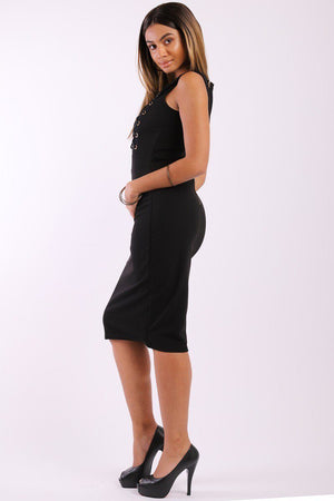 Solid, Sleeveless Midi Dress With Round Neck, Front Mesh Panel, Decorative Lace Up Design And A Back Zipper - Debbie Carter Fashion HQ