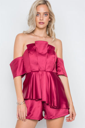 Wine Layered Off-the-shoulder Evening Romper - Debbie Carter Fashion HQ