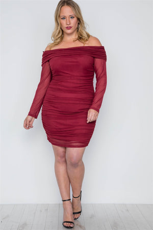 Plus Size Burgundy Off-the-shoulder Mash Mini Dress - Debbie Carter Fashion HQ
