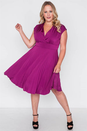 Plus Size  Pleat Accordion Fit & Flair Dress - Debbie Carter Fashion HQ