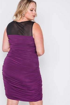 Plus Size Black Purple Combo Bodycon Mini Dress - Debbie Carter Fashion HQ